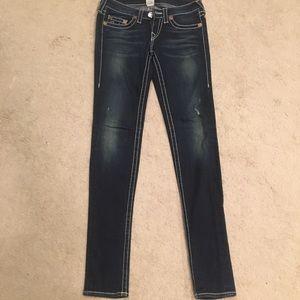 True Religion dark blue distressed jeans 27